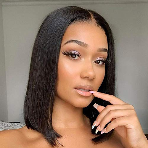 Short Straight Bob Wigs 10 Inch Human Hair Wigs Lace Front Wigs for Black Women 13x6 Middle Part Short Bob Wigs 130% Density Pre Plucked with Baby Hair Natural Black (10'', Straight Lace Front Wigs)
