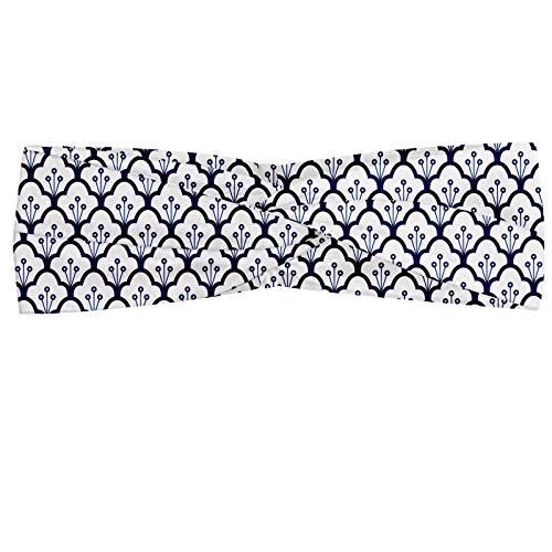 ABAKUHAUS Nederlands Hoofdband, Delfts blauw ontwerp van de Schalen, Elastische en Zachte Bandana voor Dames, voor Sport en Dagelijks Gebruik, Indigo en White