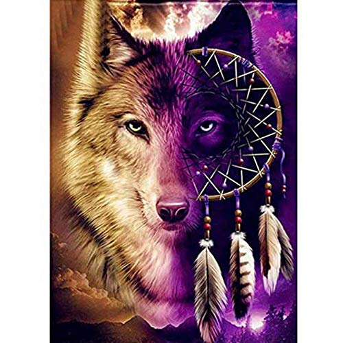 Xinstroe Wolf Diamond Painting Kits for Adults 5D DIY Full Drill Diamond Picture Art Round Crystal Rhinestone Embroidery Cross Stitch Arts Craft for Home Wall 30 x 40 cm
