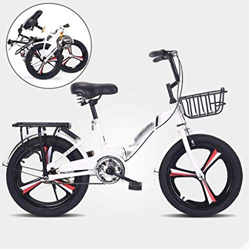 LJ Children's Folding Bicycle, High-Carbon Steel Frame with Aluminum Alloy Integrated Wheels, Suitable for Boys and Girls 6-16 Years Old,White,White