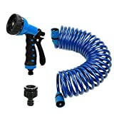 Recoil Garden Hose 25FT EVA Water Hose with 7-Pattern Spray Nozzle,3/8 inch Self Coiling Lightweight Garden Hose,Lead Free Retractable Drinking Water Safe Garden Coil Hose for Lawn Patio Garden (Blue)