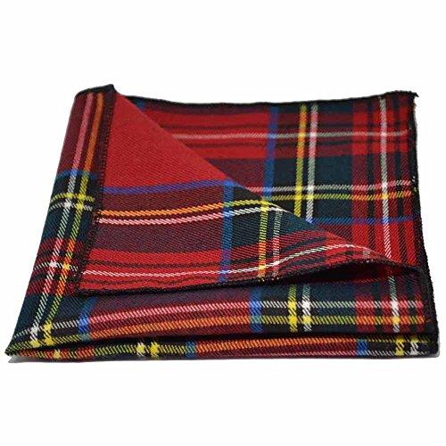 King & Priory Pañuelo de Bolsillo Tradicional con Patrón Escocés Rojo