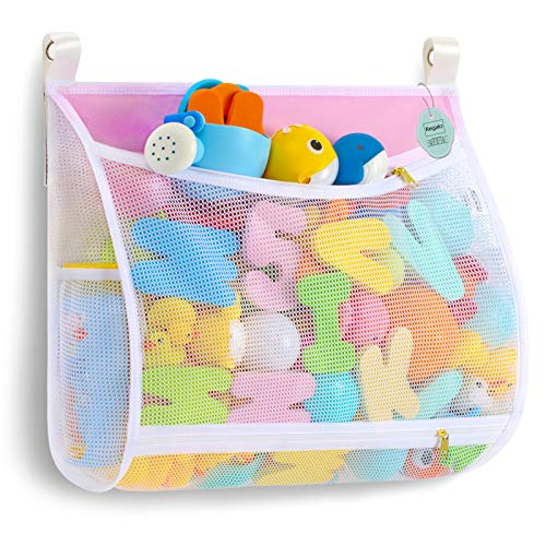Regalo Baby Bath Toy Organizer with Machine Washable MultipleSuspension Bath Toy Holder Large Capacity 2 Side Bags 4 Strong Hooks 1 Large Pink