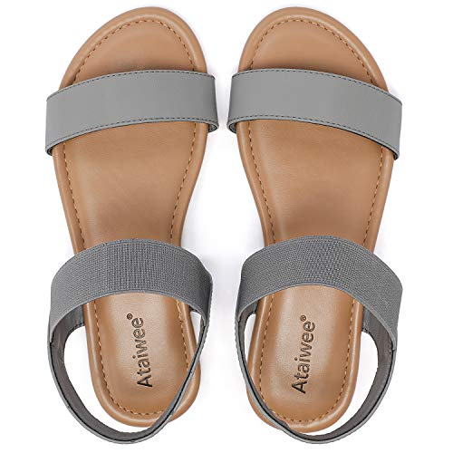 Ataiwee Women's Flat Sandals - Comfortable Ankle Elastic Strap Slip on Spring Summer Shoes.(2008016,GR/PU,6)