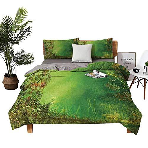 Dragon Vines - Juego de cama de cuatro piezas, sábana plana, funda de almohada, diseño de cielo con estrellas, arco iris mágico y nubes hinchadas, garabatos de arte hippie, multicolor brillante
