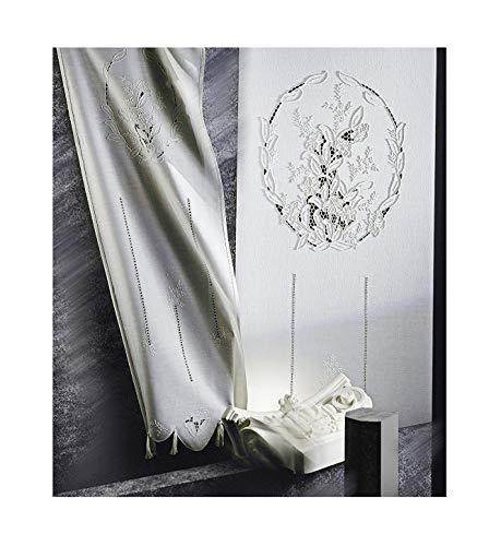 Zenoni & Colombi Telo Tenda Ricamata a Mano Odessa Made in Italy Misto Lino Varie Dimensioni (80x300)