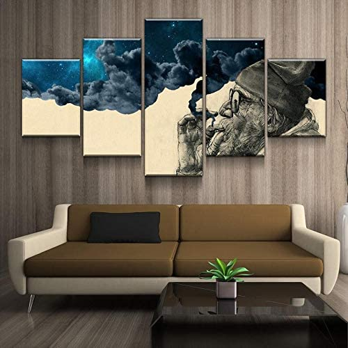Ultra-Cheap Deals Toopia 5 Panel Canvas Painting Abstract Max 85% OFF Smoking Man The Old and