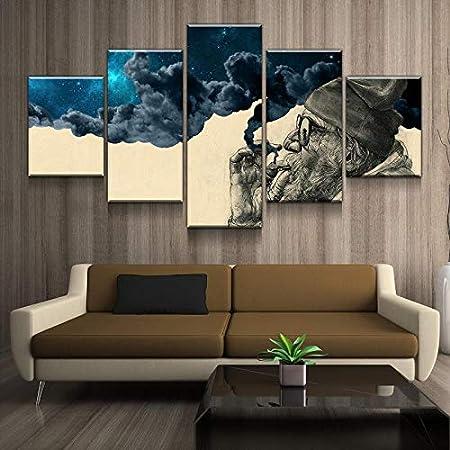 Amazon Com Toopia 5 Panel Canvas Painting Abstract The Old Man Smoking And Wonder For Living Room Home Decor Frames Modular Wall Art Poster Print 20x35cmx2 20x45cmx2 20x55cmx1 Posters Prints