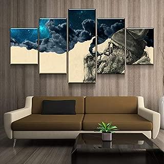 Toopia 5 Panel Canvas Painting Abstract The Old Man Smoking Wonder Living Room Home Decor Frames Modular Wall Art Poster Print (30x50cmx2, 30x70cmx2, 30x80cmx1)