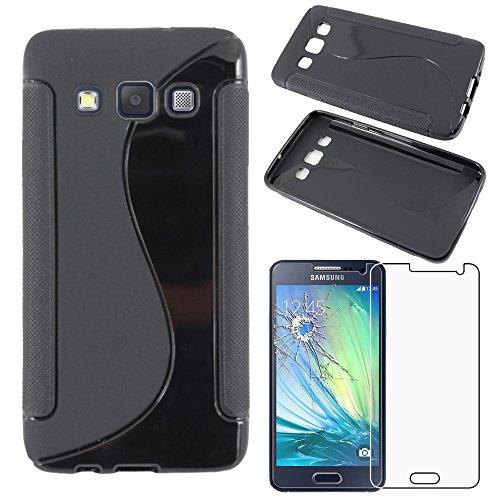 ebestStar - kompatibel mit Samsung Galaxy A3 Hülle SM-A300F (2015) TPU S-line Style Silikongel Handyhülle, Schutzhülle Case Cover, Schwarz + Panzerglas Schutzfolie [Phone: 130.1x65.5x6.9mm, 4.5'']