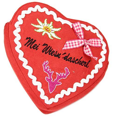 Belli Damen Trachtentasche Herztasche Edelweiss Mei Wiesn´Dascherl Dirndl Tasche Volksfest in Herzform mit Zierschleife und abnehmbaren Riemen - 18x16x2cm (B x H x T) (Rot)