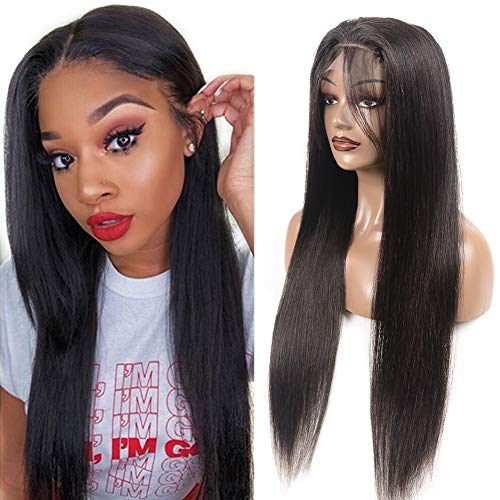 DFX Hair Straight Wig Lace Front Wigs Human Hair Pre Plucked with Baby Hair 150% Density 13×4 Frontal Lace Wigs Remy Virgin Brazilian Hair for Black Women (18 inch, 4x4 closure wig)