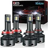 Yorkim 9005 H11 LED Headlight Bulbs combo, 9005/HB3 High Beam LED Headlights H11/H9 Low Beam LED Headlights 16000LM LED Headlight Bulbs CANBUS with Turbo Cooling Fan 6500K Cool White, Set of 4