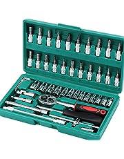 Hardware Tool Socket Set, 46 Stks Stationsleutel Socket Set, Moersleutel Ratchet Gereedschap Kit met omkeerbare Ratchet Spanner, voor Auto Reparatie DIY Socket Combinatie Set