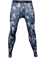 Xtextile Mens Camouflage Sports Compression Tight Leggings (Small, Grey Plaid Camouflage)
