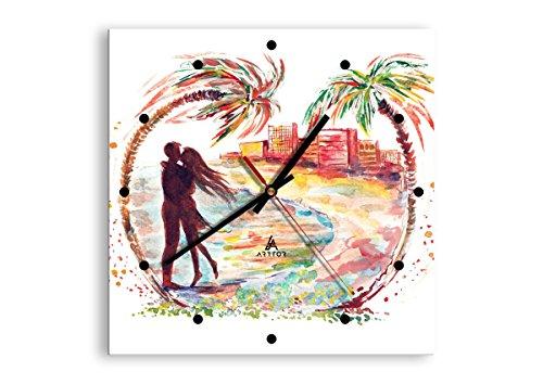 Horloge Murale - Carrée - Horloge en Verre - Pendule murales - 30x30cm - 2989 - Mécanisme d'écoulement - Silencieux - prete a Suspendre - Moderne - Décoration - Pret a accrocher - C2AC30x30-2989