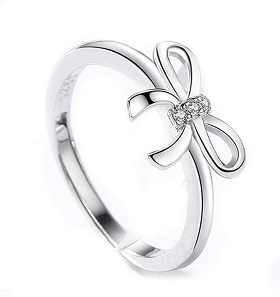 Cute Bowknot CZ Adjustable Rings for Women Girls Teen Statement Ring Toe Finger Rings Butterfly Open Band Ring Wedding Valentine's Jewelry Birthday for Friend Lover