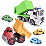 2PCs Friction Powered Garbage Truck Toys & Dump Truck Toy with 4 Car Toys, Toy Truck for Boys