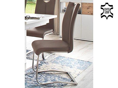 möbelando Schwingstuhl Küchenstuhl Esszimmerstuhl Schwinger Stuhl Kerrin II (2-er Set) Cappuccino