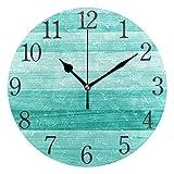 AABAO Reloj de pared redondo de madera verde turquesa, silencioso, no hace tictac, pintura al óleo para dormitorio, sala de estar, oficina, escuela, decoración del hogar