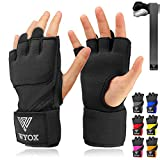 WYOX Boxing Wraps MMA Gloves Inner Boxing Gloves for Women & Men - EZ-Off & On - Thick Knuckle Padding - Breathable Fabric (Black, S/M)