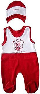 DFV Feuerwehr Baby Strampler  Mützchen weiß rot mit Feuerwehr Signet und I Love Feuerwehr Größe 62-68 aus 100% Baumwolle