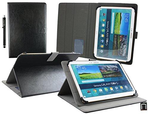 Emartbuy® Blaupunkt Tablet PC Atlantis A10.G403 10.1 Zoll Universal Range (10-11 Zoll) Schwarz PU Leder Multi Angle Exekutiv Folio Mappen Kasten Abdeckung mit Kartensteckplätze + Eingabestift