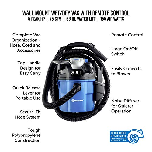 Vacmaster VWM510 Wall Mount Wet/Dry Vacuum