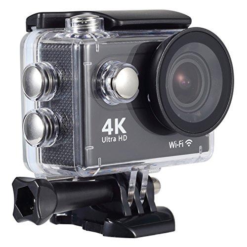 Sendowtek Action Kamera 4K, Action Cam WiFi Wasserdicht Helmkameras Motorrad Kamera mit Fernbedienung Unterwasserkamera Zeitraffer Kamera Vollständige Zubehör Kits
