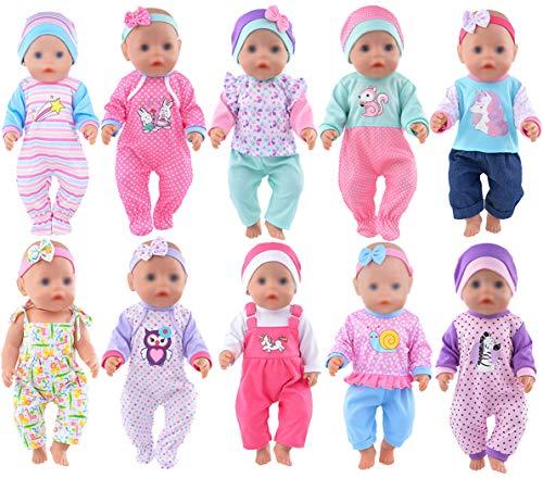 ebuddy 10 Sätze Zu den Accessoires für süße Puppenbekleidung gehören Hüte und Stirnbänder für 43cm / 17 Zoll Neugeborene Babypuppen