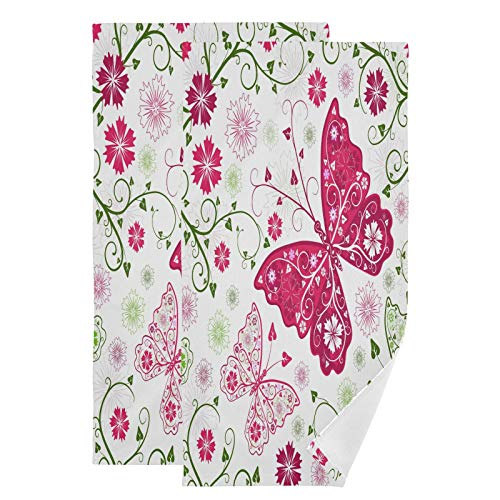 Mnsruu Toallas de baño con flores de mariposa de secado rápido, altamente absorbentes, toalla súper suave para deportes, spa, viajes, hotel, yoga 36,5 x 72 cm (2 unidades)