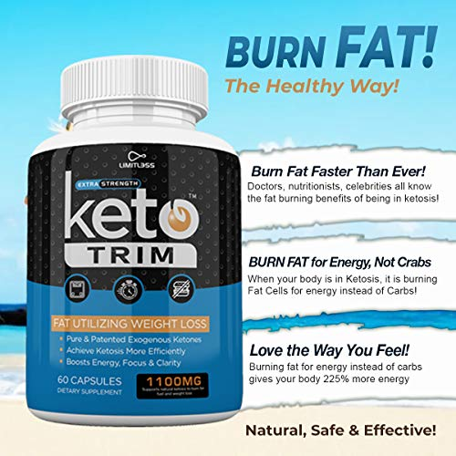 Keto Trim Pills - Fat Utlizing Weight Loss - Limitless Labs - 1100MG - 180 Capsules - 90 Day Supply 5