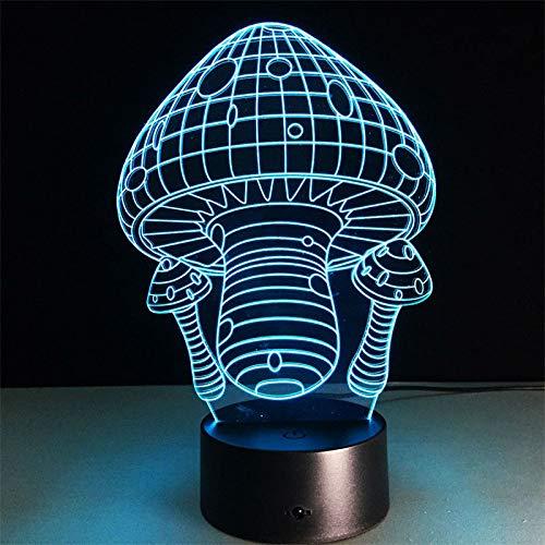 BFMBCHDJ Pilz 3D Neuheit Licht Kreative Elektronische Geschenke Wohnzimmer Dekoration 3D Illusion Lampe Geben Kinder Geschenke Und Spielzeug