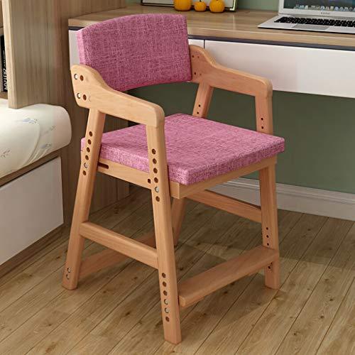 Chaise à dîner, les présidents d'apprentissage des enfants peuvent relevable et abaissable Sièges en bois Chaises informatique Chaises loisirs avec 4 couleurs en option Dossier (Color : D)