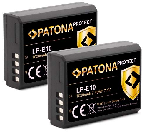 PATONA Protect V1 - Batería LP-E10 (1020 mAh, sensor NTC y carcasa V1)