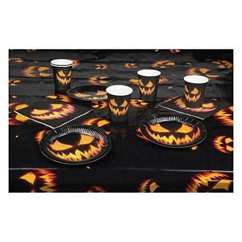 Boland Set di stoviglie per Halloween, 6 Bicchieri + 6 Piatti + 12 tovaglioli + tovaglia, Multicolore, 25-Teilig, 72308