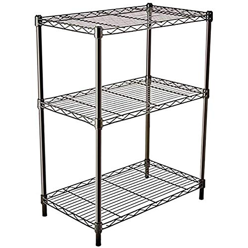 Hly 3 Tier Small Display Plant Pantry Wire Shelf Organizer Storage Rack Black Metal Book Shelves for Bedroom 217L x 118W x 236H