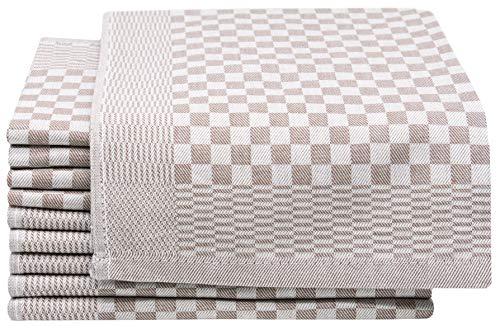 ZOLLNER 10er-Set Geschirrtücher, Vollzwirn, 100% Baumwolle, 46x70 cm, braun