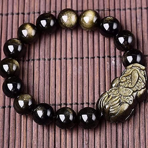 Pulsera china Pulsera hecha a mano Feng Shui Riqueza natural oro obsidiana bead feng shui pulsera tallado pixiu / piyao joyería corazón sutra cobre cuento amuleto atrayendo riqueza dinero amor regalos