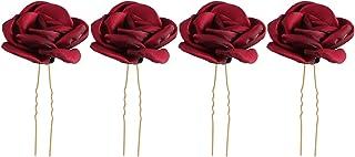 4pcs Rose Flower Hair Sticks Bride Bridesmaid Hair Accessories U-shaped Updo Hair Chopsticks for Wedding (Red)