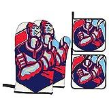 Set di 4 guanti da forno e presine,Un Giocatore Di Hockey Su Ghiaccio In Possesso Di Bastone Con Le Braccia Incrociate Di Fronte A Fronte Fatto In Stile Retrò,Guanti con cuscinetti caldi resistenti