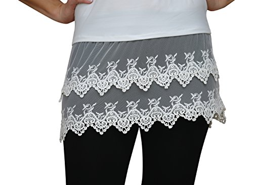 Lucky Love Lace Trimmed Camisole Top Shirt Extender for Women Extra Long Tank - Plus Sizes,XXX-Large,Cream