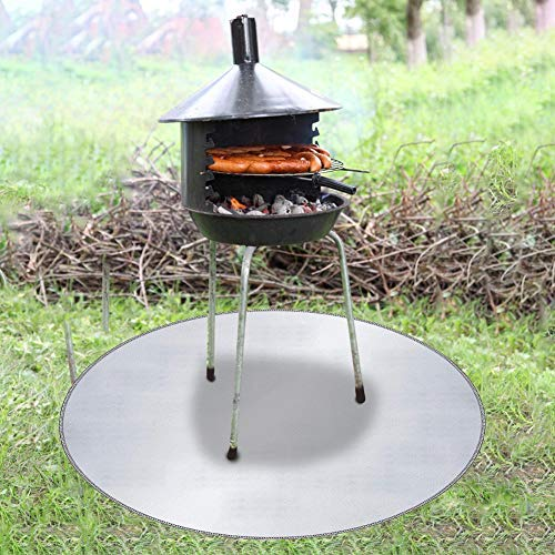 fuguzhu Fire Pit Mat, Under Grill Gear Flame Retardant Mats, Glass Fiber Fireproof Mat for Braziers, Barbecue, Gas Grills, BBQ, Chimneys with Legs (24inch)