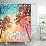 qhtqtt Duschvorhänge Wasserdicht Hawaii Sommer Strand Aloha Inspiration Für Hochzeitsdatum Geburtstag Tropical Party Surf Lange 180X180 cm A