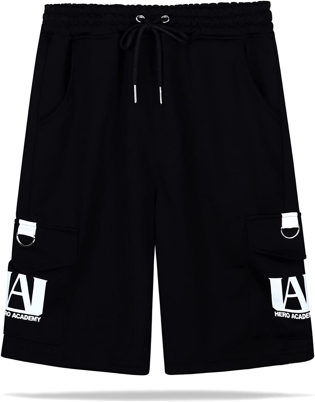 Roffatide Anime My Hero Academia MHA Men's Cargo Shorts Cotton Lounge Drawstring Knit Shorts Workout Shorts with Pockets