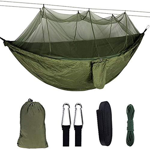 Hamaca portátil para Acampar, Hamaca Doble de Nailon para Adultos, al Aire Libre, mochilero, Viaje, Supervivencia, Cama para Dormir con Hebilla, Cuerda de tracción