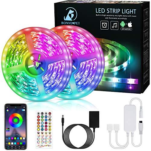 LED Strip,Bonve Pet 12M RGB LED Streifen LED Lichterkette mit Fernbedienung,Bluetooth APP Steuerbar,Sync zur Musik,Farbwechsel 5050 LED Band Klebeband Selbstklebende für Schlafzimmer,TV,Schrankdek