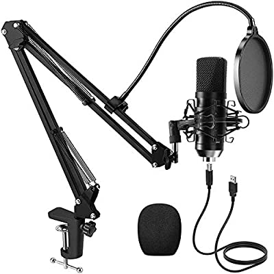 PREUP Condenser Microphone Kit, USB Microphone Sets Professional Podcast with Stand, Shock Absorber Holder, Windshield, Pop Filter, for Broadcasting, Recording