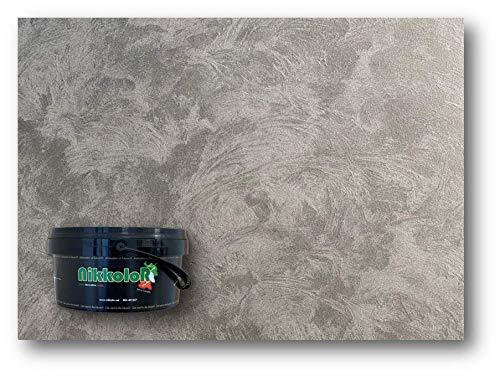 Perla d'Oriente pittura vernice decorativa effetto sabbiato perlato opaco cangiante Nikkolor Made Italy (Silver lt 2,5)
