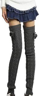 en Tricot Chaussettes Femmes Plus de Chaussettes Montantes Jambi/ère en Tricot et Pompon Boule